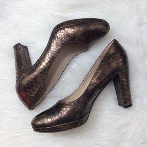 Clarks | Snakeskin bronze heels